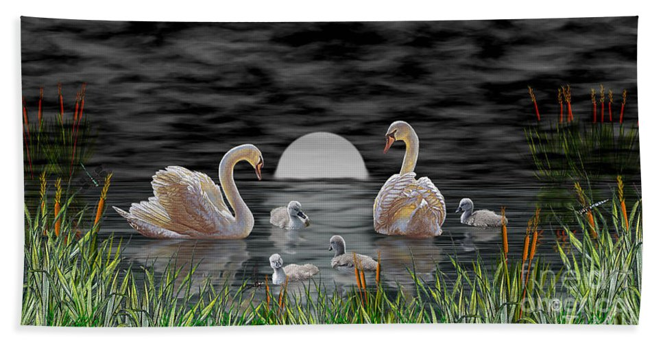 Swan Beach Towel featuring the digital art Swan Family by Terri Mills