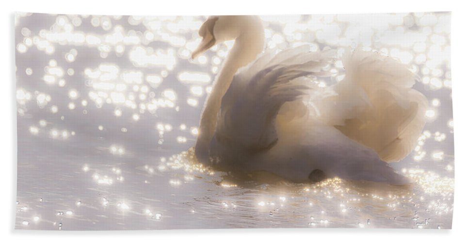 Swan Beach Towel featuring the photograph Swan Of The Glittery Early Evening by Will Bailey