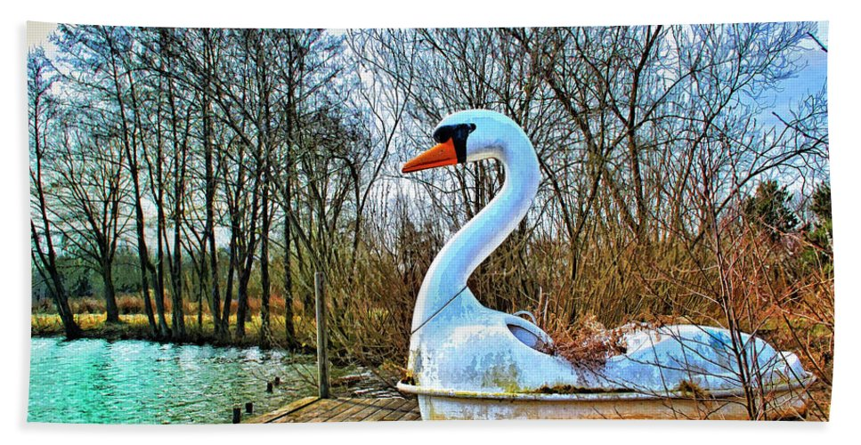 Swan Song Beach Towel featuring the mixed media Swan Song by Dominic Piperata