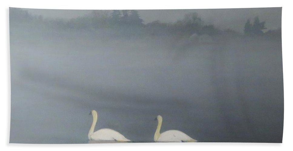 Pond Beach Towel featuring the painting Swans On Misty Pond by Dennis Kirby
