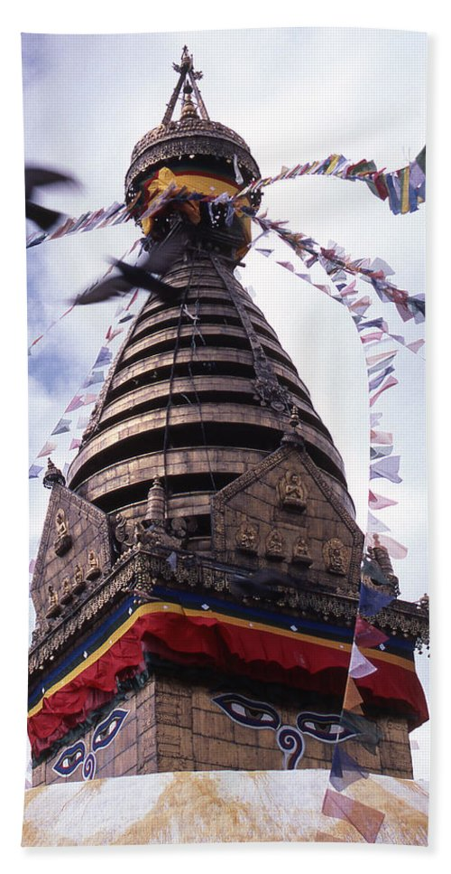 Swayambhunath Beach Towel featuring the photograph Swayambhunath by Patrick Klauss