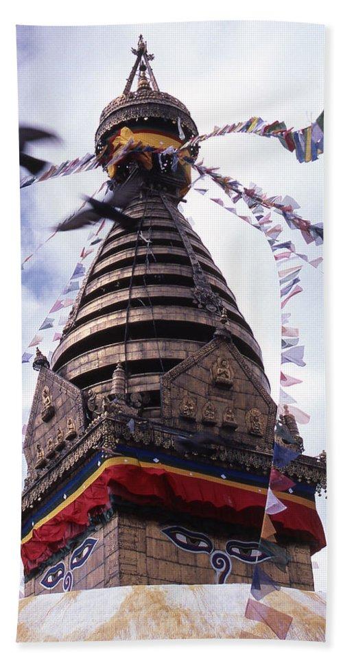 Swayambhunath Beach Sheet featuring the photograph Swayambhunath by Patrick Klauss