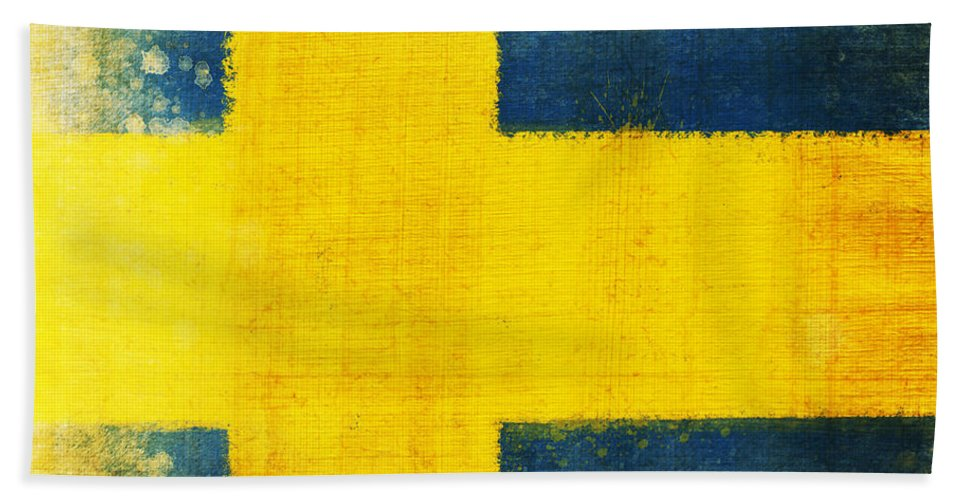 Sweden Beach Towel featuring the painting Swedish Flag by Setsiri Silapasuwanchai