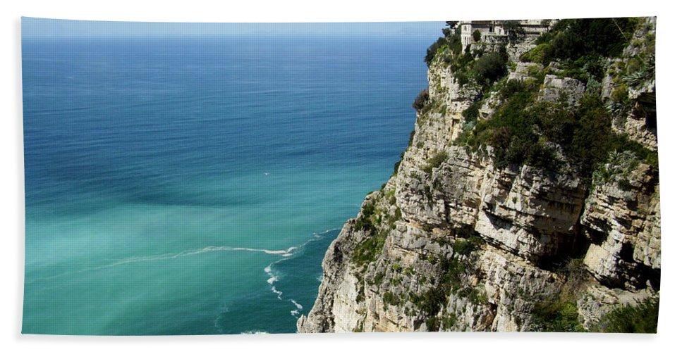 Amalfi Coast Sea Cliffs Beach Towel featuring the photograph Sweeping Around The Amalfi Coast by Andy Lloyd