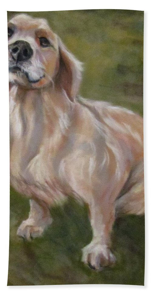 Dog Beach Towel featuring the pastel Sweet Golden by Barbara O'Toole