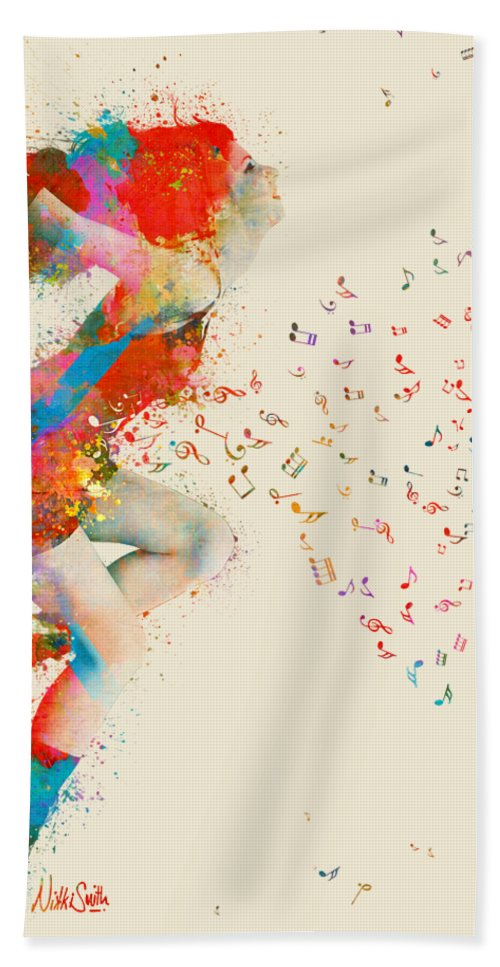 Song Beach Towel featuring the digital art Sweet Jenny Bursting With Music by Nikki Smith