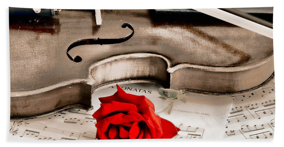 Violin Beach Towel featuring the photograph Sweet Music by Don Schwartz