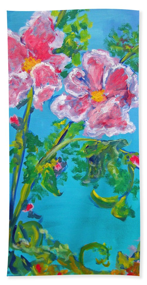 Flower Beach Towel featuring the painting Sweet Pea Flowers On A Vine by Patricia Taylor