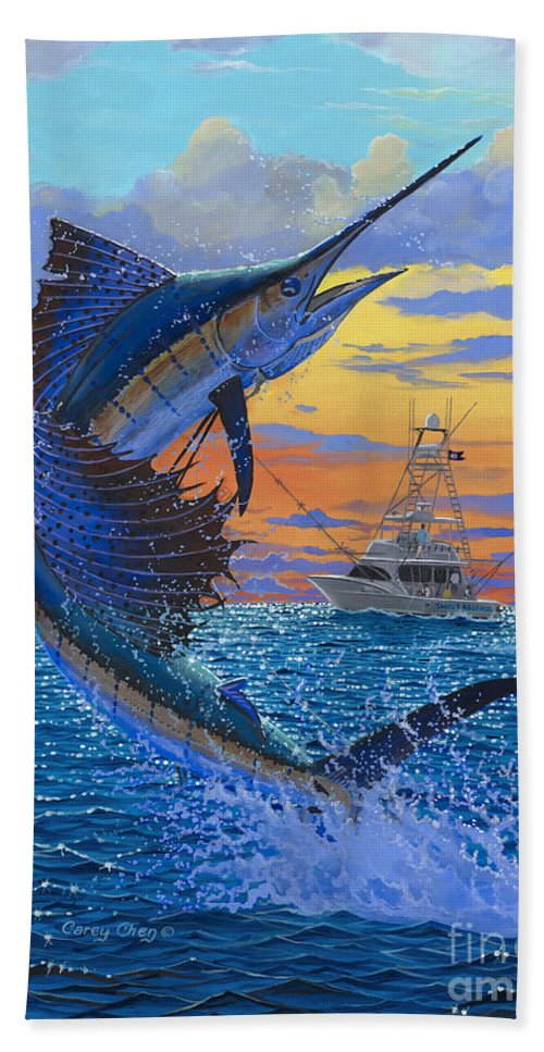 Sailfish Beach Towel featuring the painting Sweet Release by Carey Chen