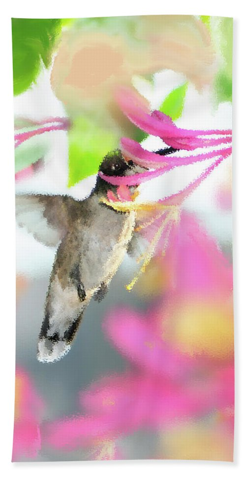 Ruby-throated Hummingbird Beach Towel featuring the photograph Sweet Surprise by Betty LaRue