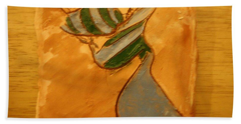 Jesus Beach Towel featuring the ceramic art Sweetheart - Tile by Gloria Ssali