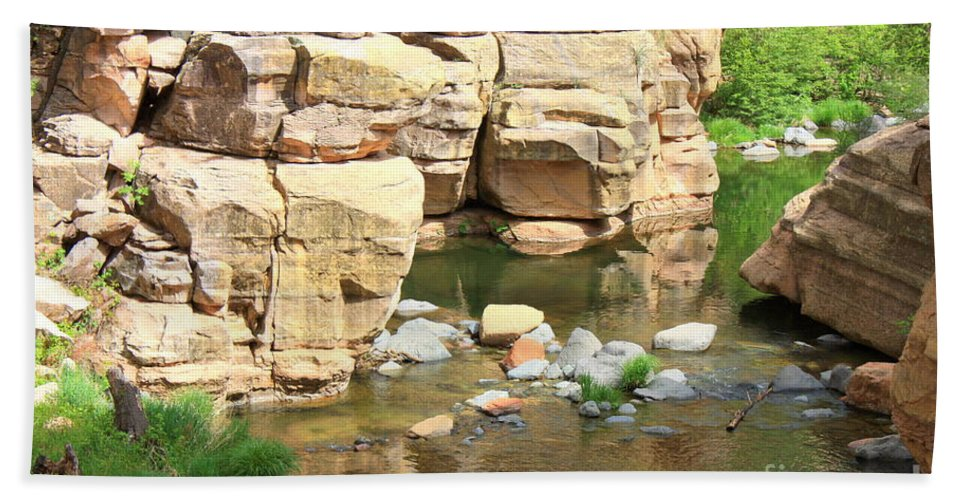 Slide Rock Beach Towel featuring the photograph Swimming Hole At Slide Rock by Carol Groenen