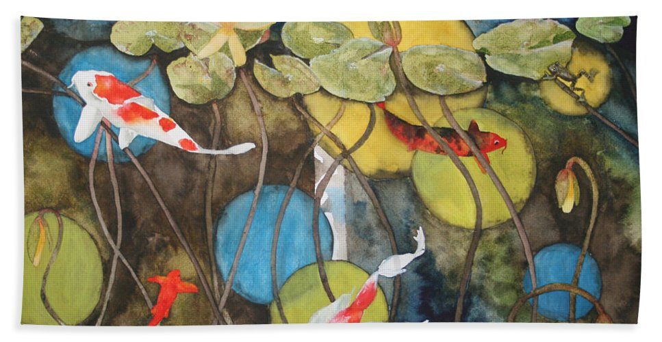 Abstract Beach Towel featuring the painting Swimming In Circles by Jean Blackmer