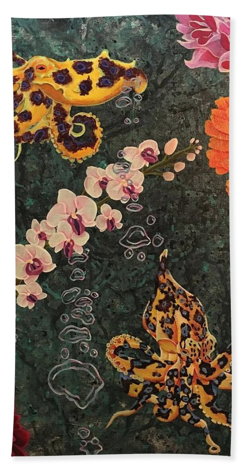 Octopus Beach Towel featuring the painting Swimming Through Flowers by Jordan Ferraton