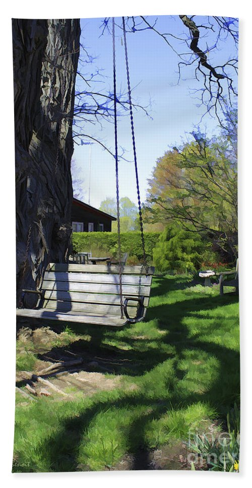 Spring Beach Towel featuring the photograph Swing In Spring by Deborah Benoit