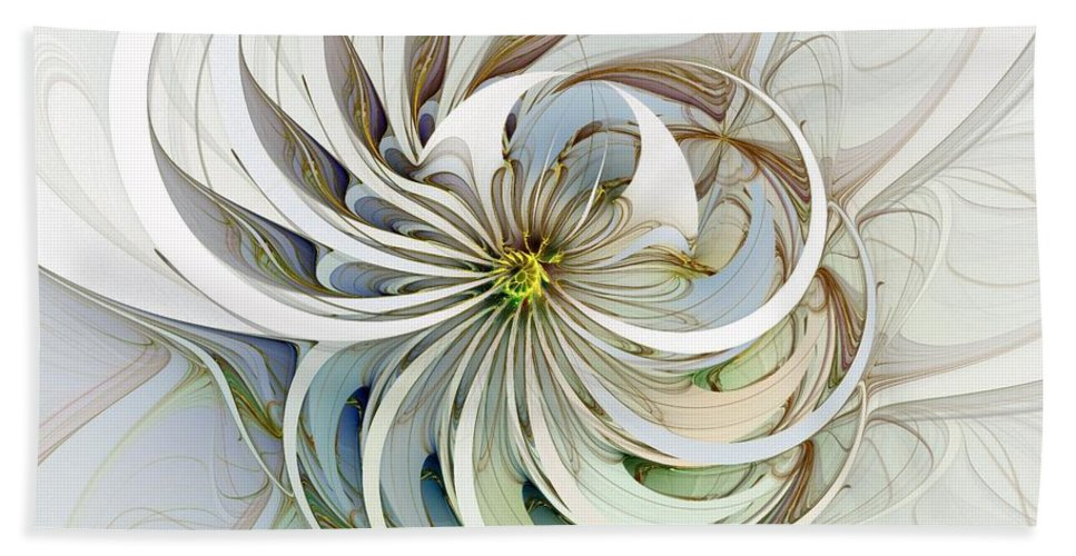 Digital Art Beach Towel featuring the digital art Swirling petals by Amanda Moore