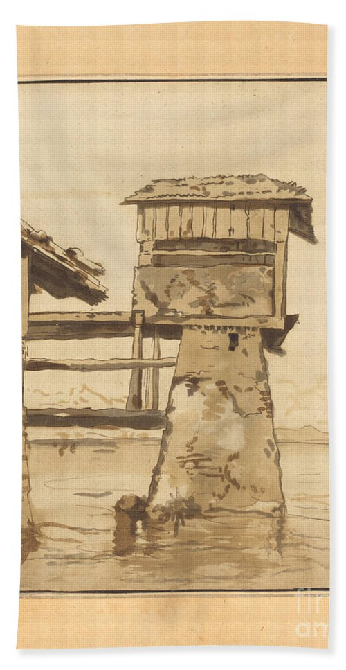 Beach Towel featuring the drawing Swiss Peasant House by Regina Katharina Quarry After Franz Schutz