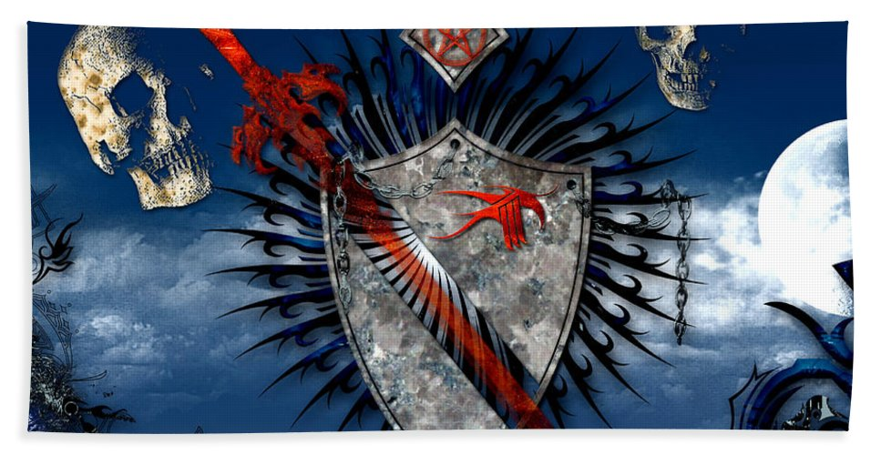Sword Beach Towel featuring the digital art Sword And Shield by Michael Damiani