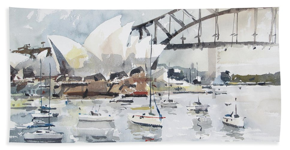 Watercolour Beach Towel featuring the painting Sydney Opera by Tony Belobrajdic