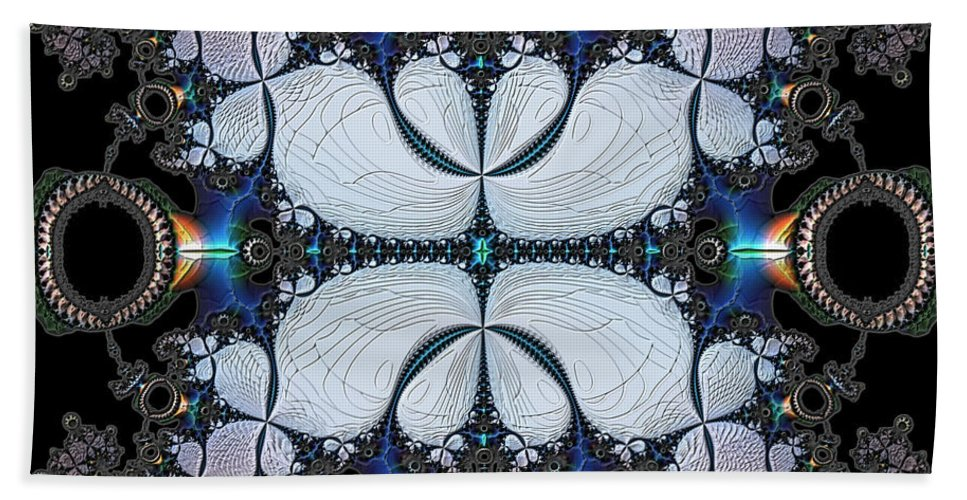 Abstract Beach Towel featuring the digital art Symmetry In Circuitry by Casey Kotas