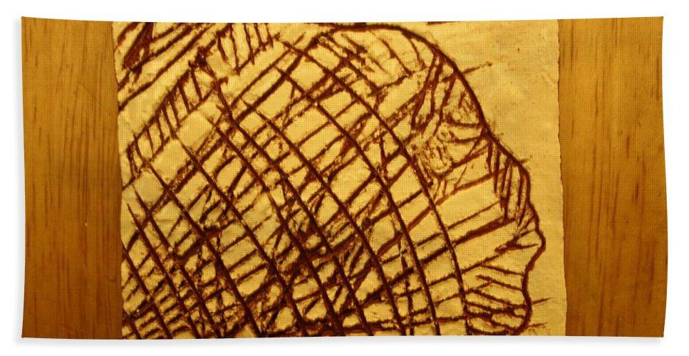 Jesus Beach Towel featuring the ceramic art Symptoms - Tile by Gloria Ssali