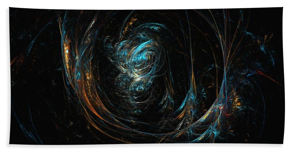 Abstract Digital Painting Beach Towel featuring the digital art Synapse by David Lane