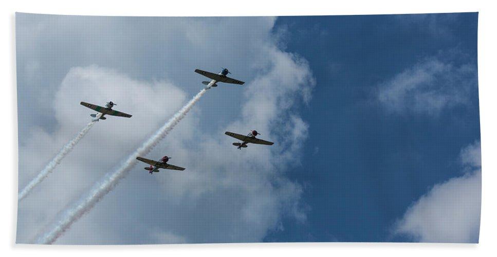 Aircraft Beach Towel featuring the photograph T-6 Texan Airplane Squad 1 by John Brueske