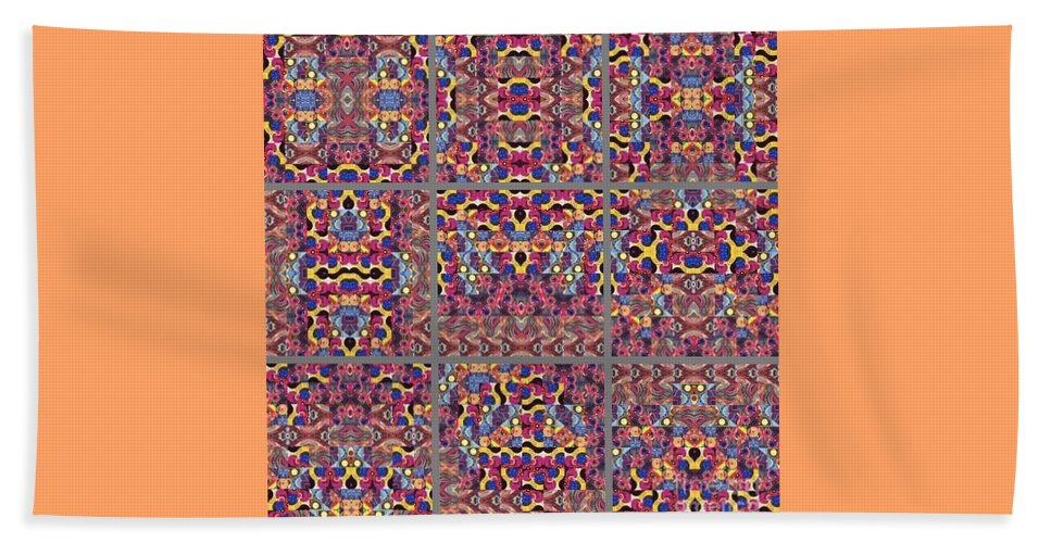 Abstract Beach Towel featuring the painting T J O D Mandala Series Puzzle 3 Variations 1-9 by Helena Tiainen