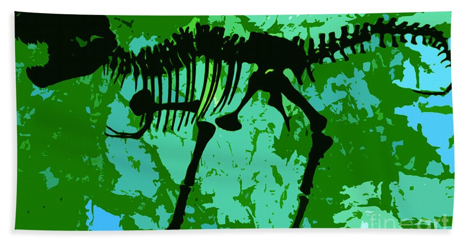 T Rex Beach Towel featuring the digital art T. Rex by David Lee Thompson