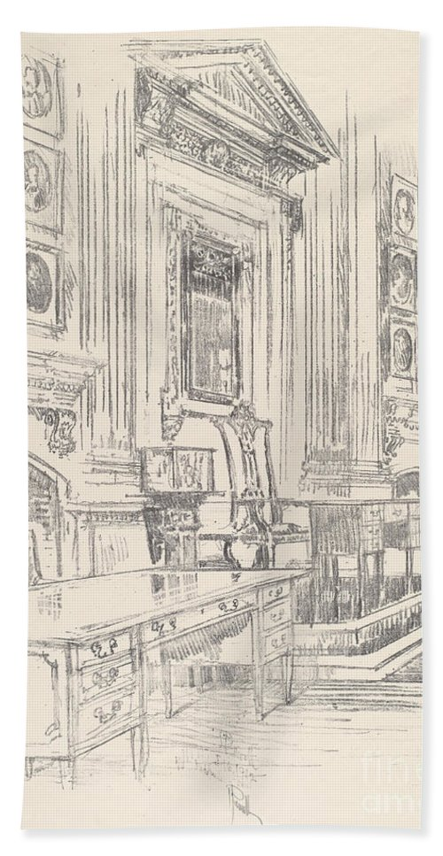 Beach Towel featuring the drawing Table And Chair, Signers' Room, Independence Hall by Joseph Pennell