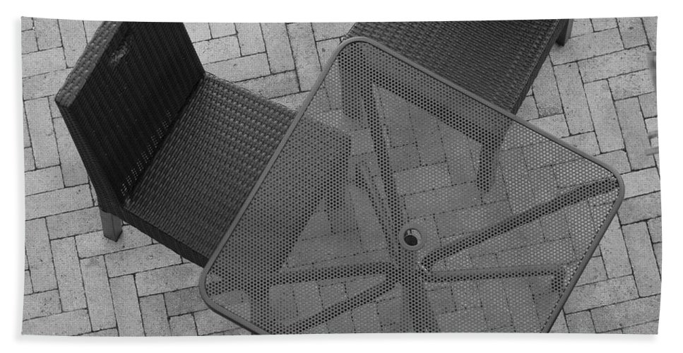 Table Beach Towel featuring the photograph Table Chairs From Above by Rob Hans