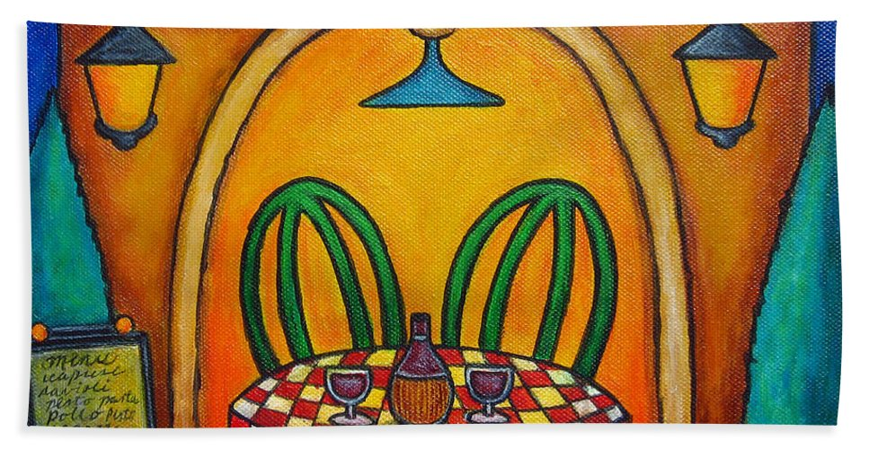 Table Beach Towel featuring the painting Table For Two At The Trattoria by Lisa Lorenz