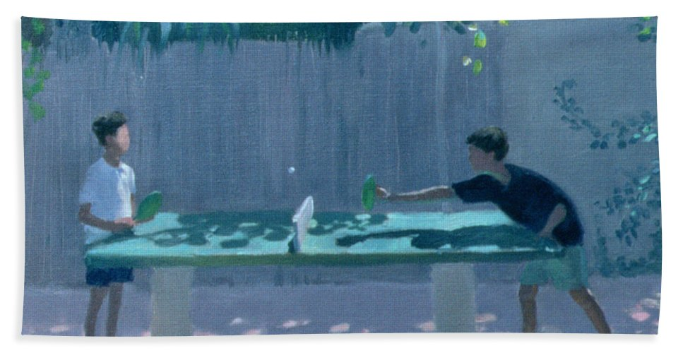 Ping Pong Beach Towel featuring the painting Table Tennis by Andrew Macara