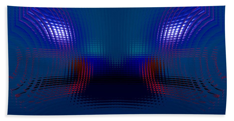 Blue Beach Towel featuring the digital art Tail Lights In The Rain by Donna Blackhall