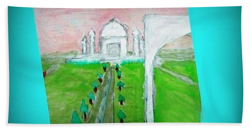 Landscape Beach Towel featuring the painting Taj Mahal Noon by Ayyappa Das