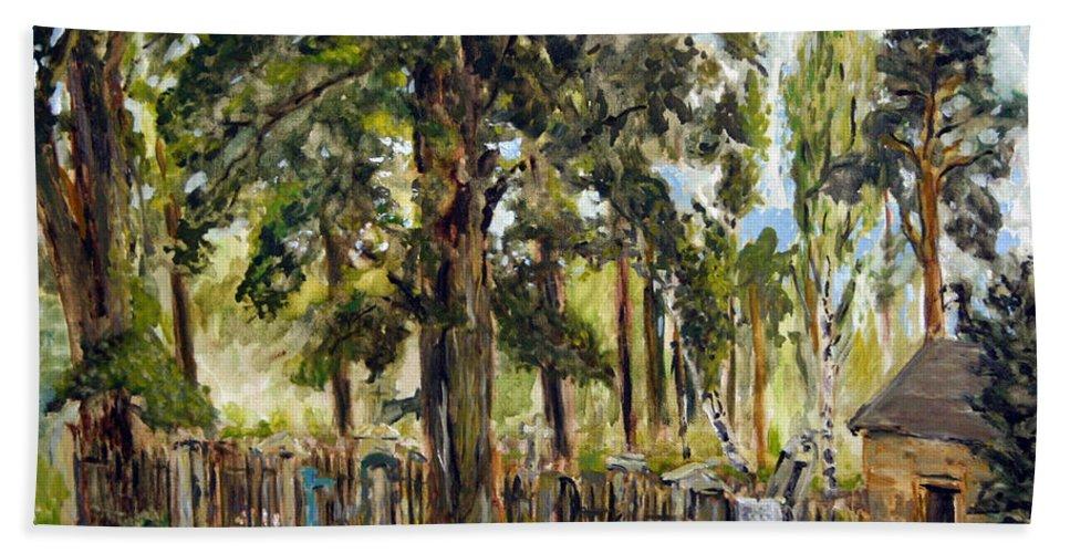 Landscape Beach Towel featuring the painting Tajny Hrbitov by Pablo de Choros