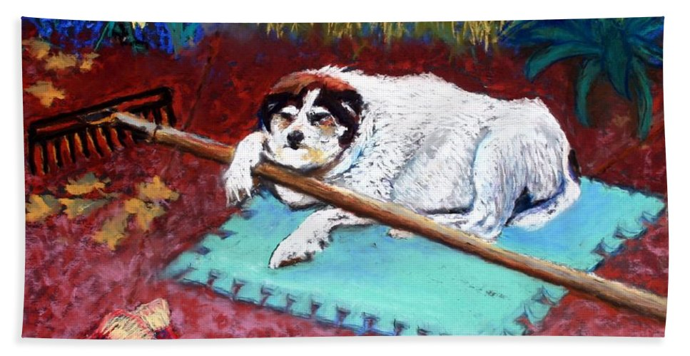 Dog Beach Towel featuring the painting Take A Break by Minaz Jantz