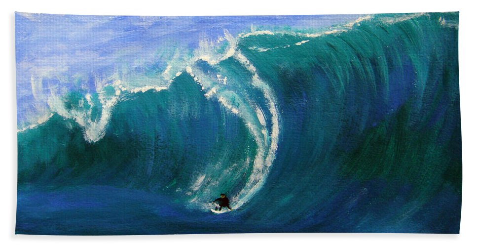Surf Beach Towel featuring the painting Taking The Drop by Donna Blackhall