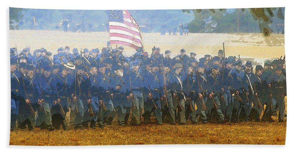 Art Beach Towel featuring the painting Taking The Field by David Lee Thompson