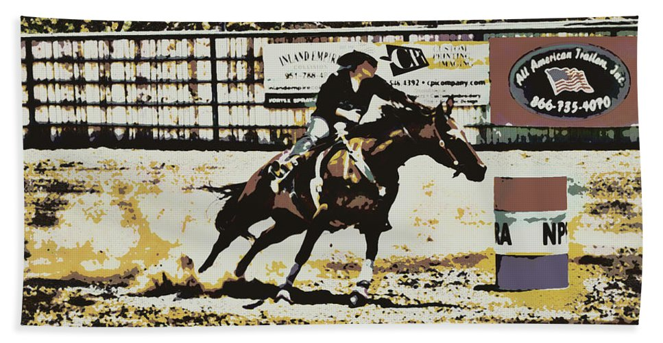Race Beach Towel featuring the photograph Taking The Lead by Sandra Watkins