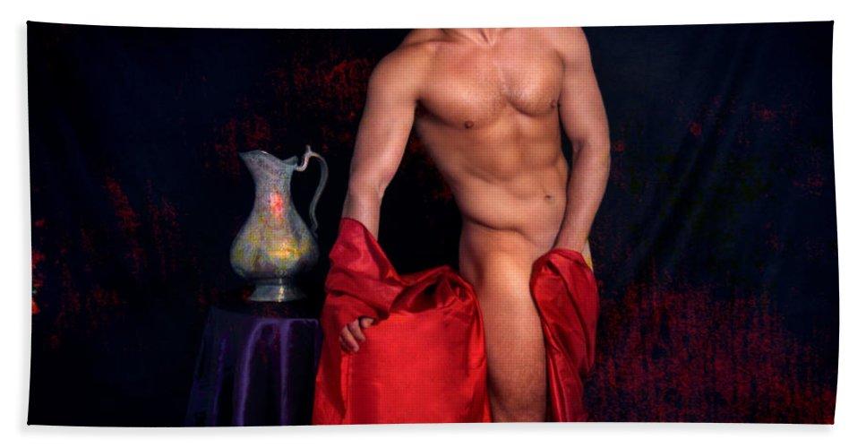Male Nude Art Beach Towel featuring the digital art Talk About It by Mark Ashkenazi