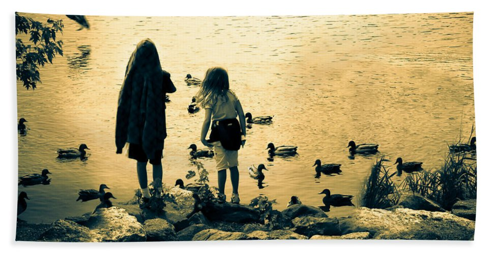 Kids Beach Towel featuring the photograph Talking To Ducks by Bob Orsillo