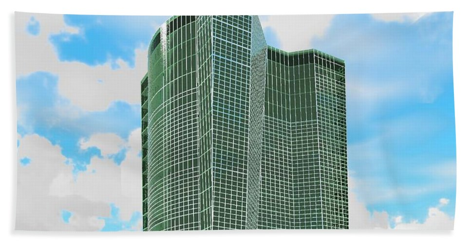 Building Rendering Beach Towel featuring the digital art Tall And Green by Ron Bissett