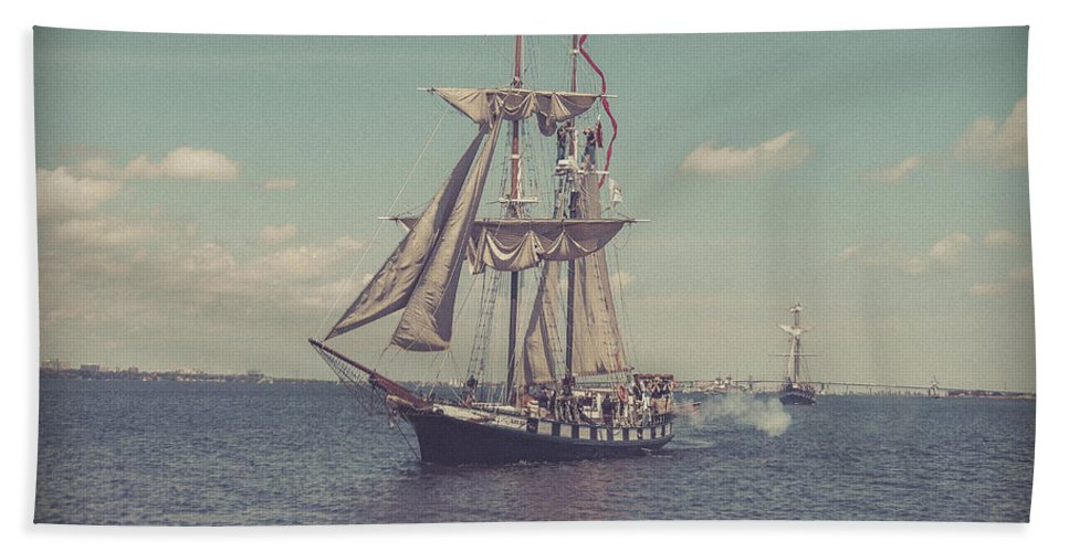 Tall Ships Beach Towel featuring the photograph Tall Ship - 3 by Will Bailey