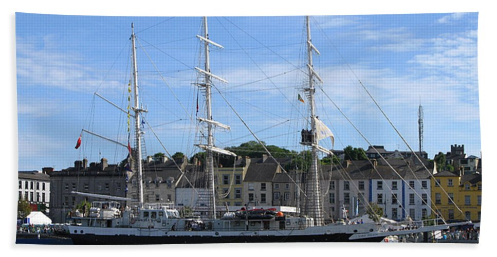 Tall Ship Beach Towel featuring the photograph Tall Ship Race Waterford 2011 by Maria Joy