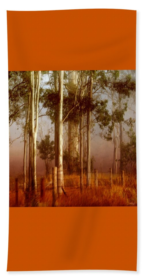 Landscape Beach Towel featuring the photograph Tall Timbers by Holly Kempe
