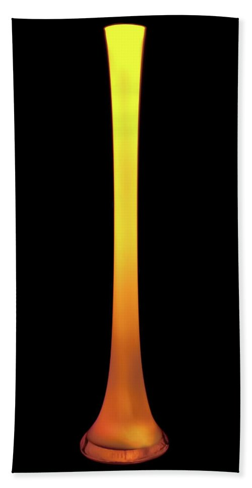 Antique Glass Vase Beach Towel featuring the photograph Tall Yellow Vase by Onyonet Photo Studios