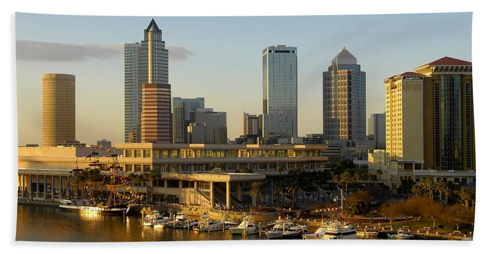 Tampa Bay Florida Beach Towel featuring the photograph Tampa Bay And Gasparilla by David Lee Thompson