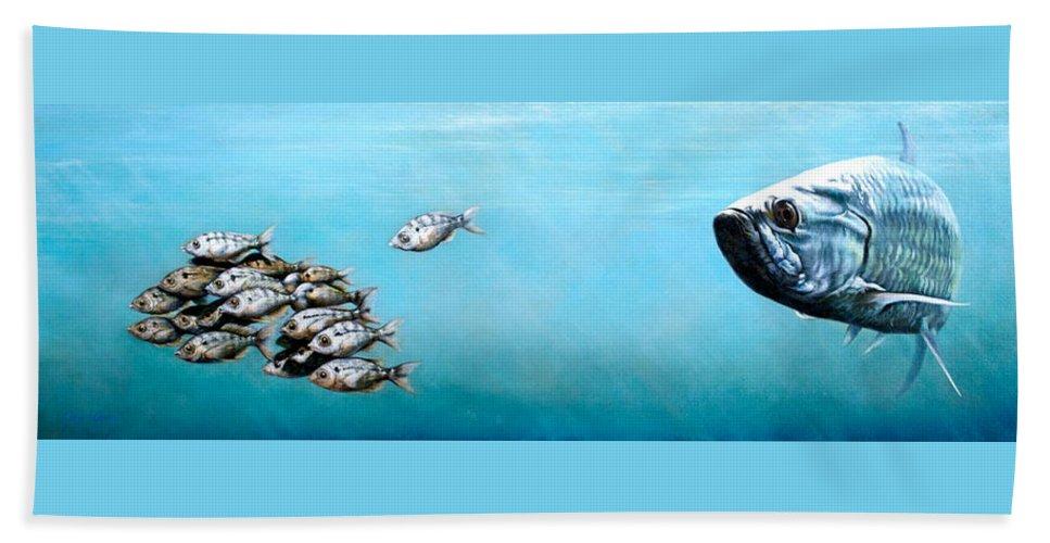 Underwater Beach Sheet featuring the painting Tampa Bay Tarpon by Joan Garcia