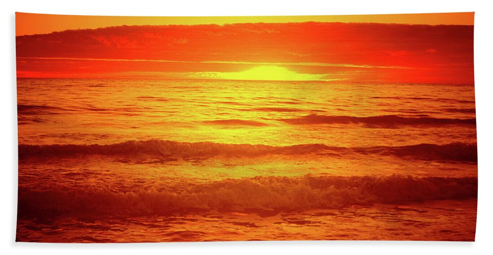 Sunset Beach Towel featuring the photograph Tangerine Sunset by Douglas Barnard
